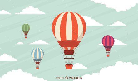 Conjunto de balões de ar quente listrado