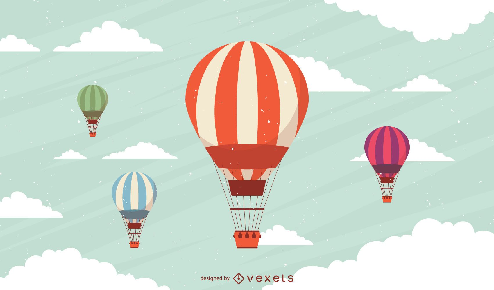 Conjunto de globos aerostáticos a rayas
