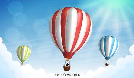 Paisaje de globos de aire caliente