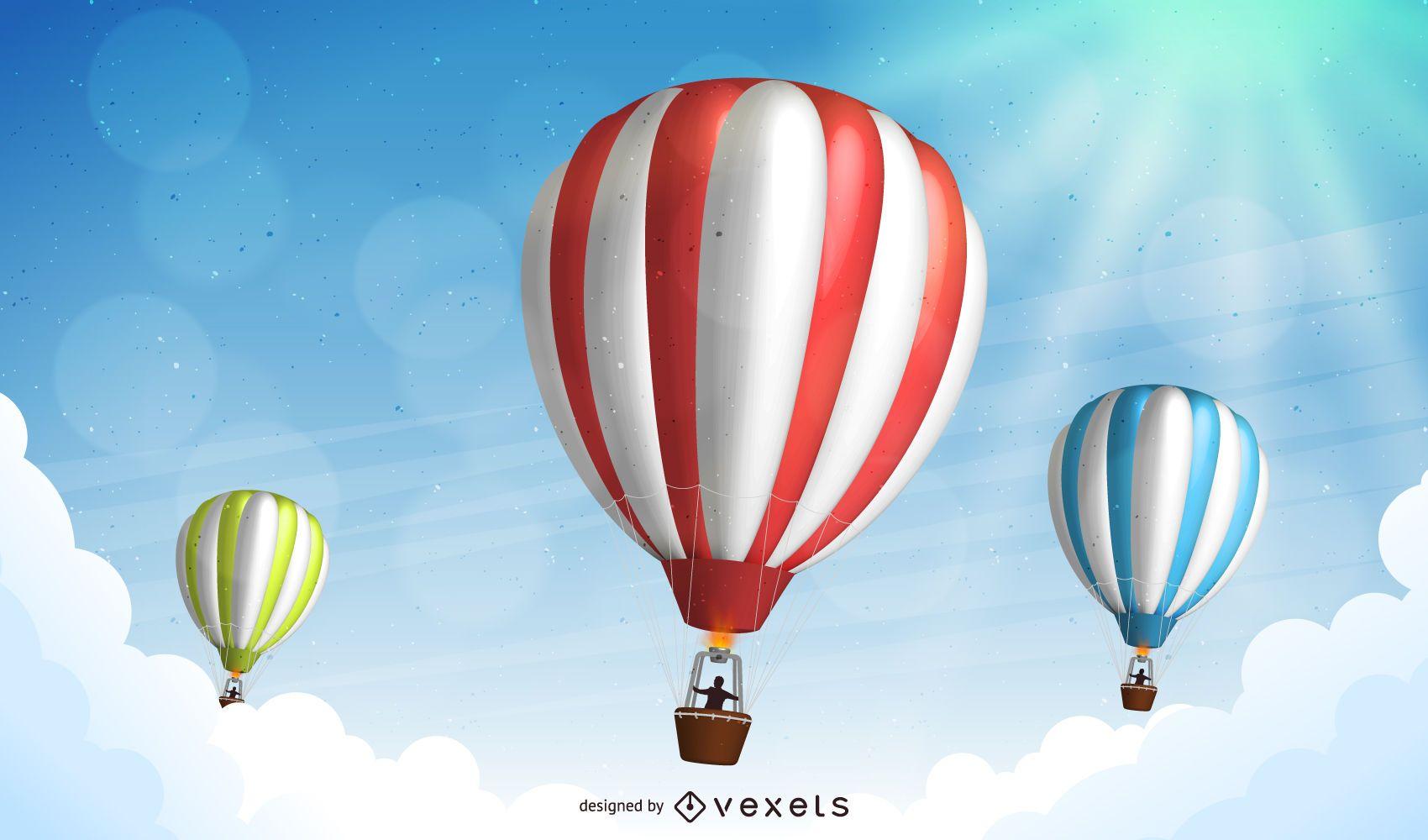 Hot Air Balloons Landscape