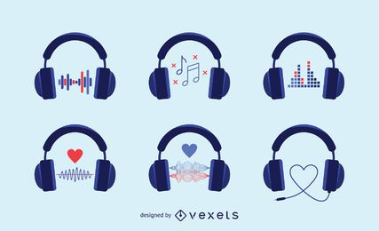 Audio headphones icons set