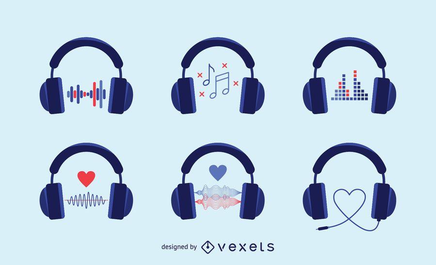 Conjunto de ícones de fones de ouvido de áudio