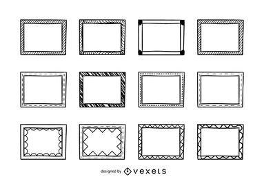 Conjunto de doodle de moldura retangular