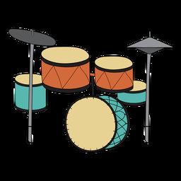 Conjunto de tambor doodle de instrumento musical