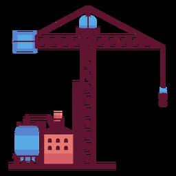 Fábrica y grúa industrial.