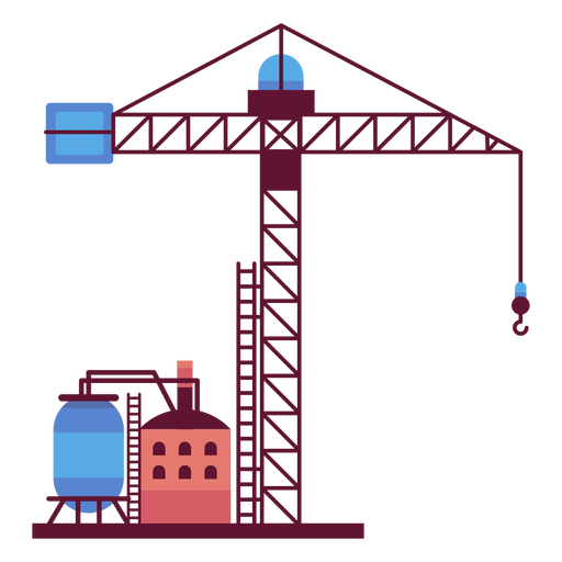 Factory and industrial tower crane Transparent PNG