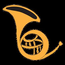 Doodle de instrumento musical de cuerno francés