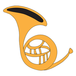 French horn musical instrument doodle