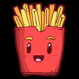 Desenhos animados de personagem de caixa frita