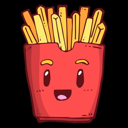 Dibujos animados de personaje de caja de papas fritas