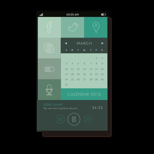 Green calendar mobile interface Transparent PNG