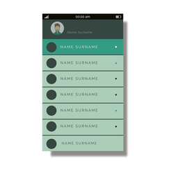Lista de contactos verde interfaz móvil