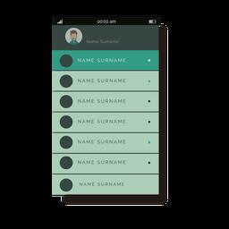 Los contactos verdes listan la interfaz móvil