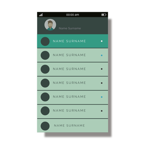 Green contacts list mobile interface Transparent PNG