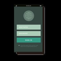 Interfaz móvil de registro verde