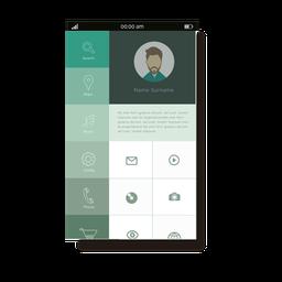 Interfaz móvil del menú de usuario verde