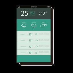 Interface móvel com aplicação de clima verde