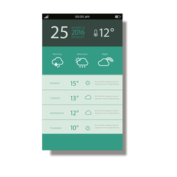 Interface móvel do aplicativo clima verde