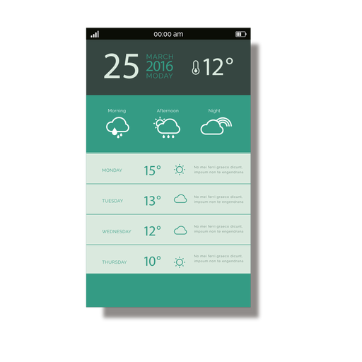 Green weather application mobile interface Transparent PNG