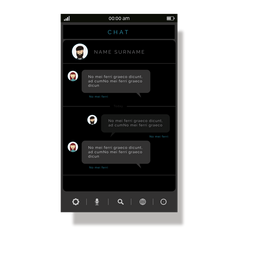 Grey chat application interface