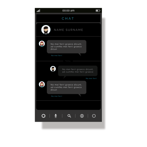 Grey chat application interface Transparent PNG