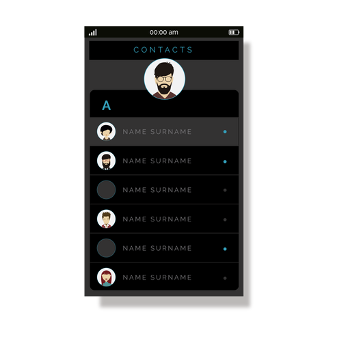 Grey contacts list user interface Transparent PNG