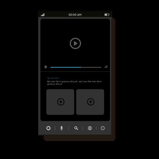 Grey media player user interface Transparent PNG