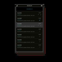 Interfaz de usuario de la bandeja de entrada del mensaje gris