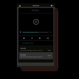Interfaz de usuario de reproductor de música gris