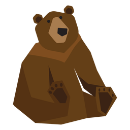 Grizzly bear sitting illustration