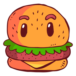Dibujos animados de carácter de hamburguesa