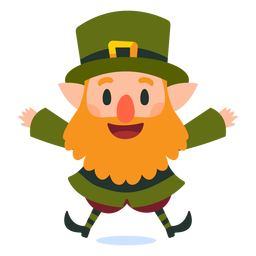 Happy leprechaun jumping cartoon