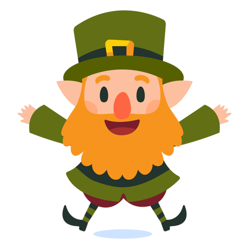 Happy leprechaun jumping cartoon Transparent PNG