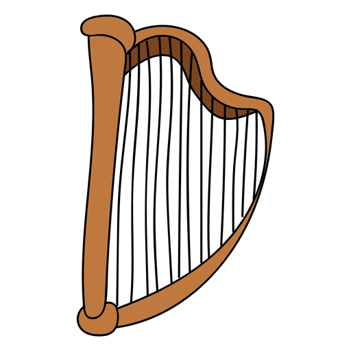 Arpa instrumento musical doodle. Transparent PNG