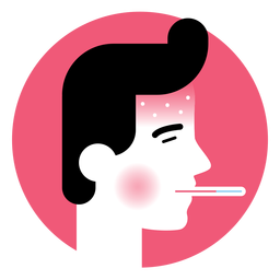 High fever sickness symptom icon