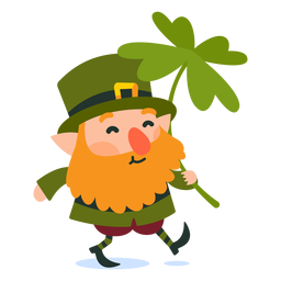 Leprechaun carrying clover cartoon