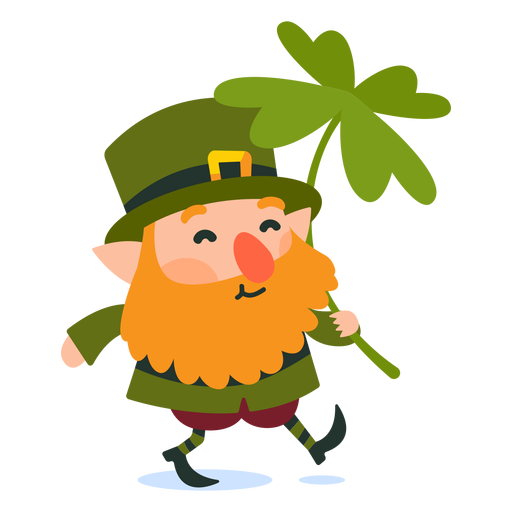 Leprechaun carrying clover cartoon Transparent PNG