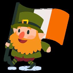 Leprechaun carregando desenhos animados de bandeira irlandesa