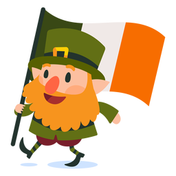 Leprechaun carrying irish flag cartoon