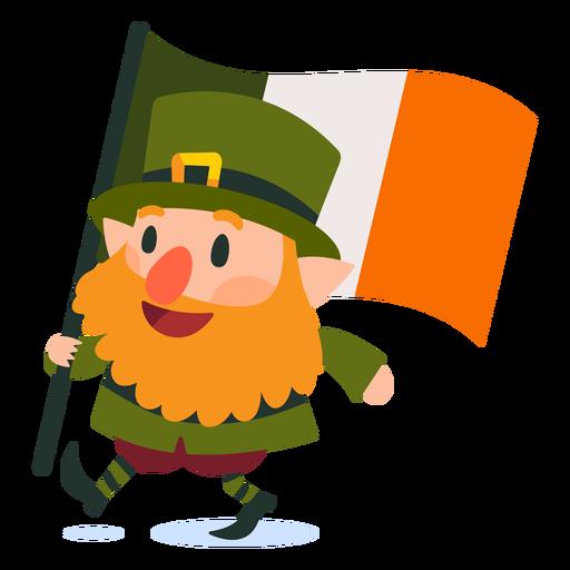 Leprechaun carrying irish flag cartoon Transparent PNG