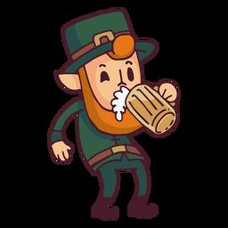 Leprechaun bebendo desenhos animados de cerveja