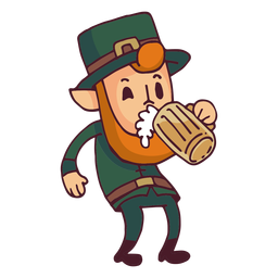 Leprechaun drinking beer cartoon
