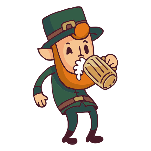 Leprechaun drinking beer cartoon Transparent PNG
