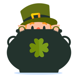 Leprechaun in pot cartoon