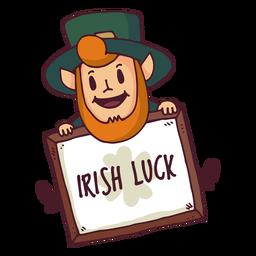 Dibujos animados de tablero de suerte irlandés de duende