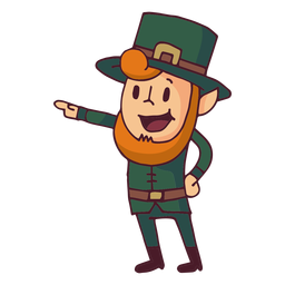 Leprechaun pointing cartoon