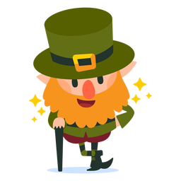 Leprechaun with cane cartoon