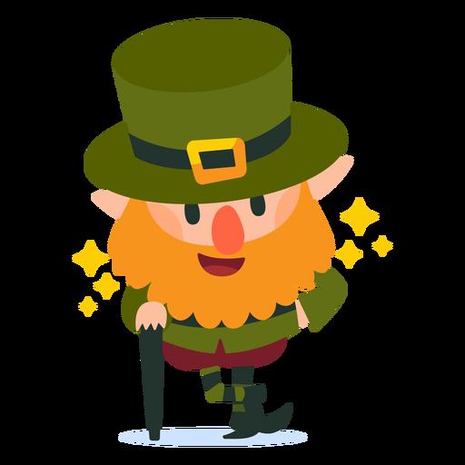 Leprechaun with cane cartoon Transparent PNG
