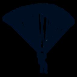 Hombre cayendo con paracaídas silueta