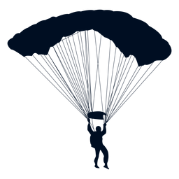 Man falling with parachute silhouette